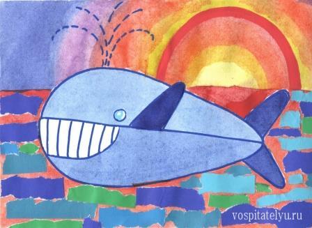 рисование кита для детей