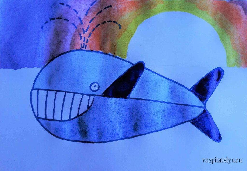 Рисуем кита с детьми 5-6 лет
