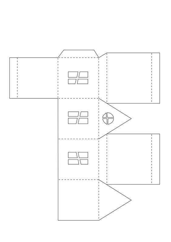 Домики для адвент-календаря. Шаблоны для печати.
