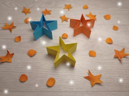 сделать бумажную звезду на ёлку